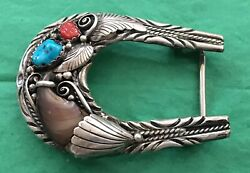 VTG WESTERN RANGER NATIVE AMERICAN STYLE TURQUOISE BEAR CLAW SILVER BELT BUCKLE