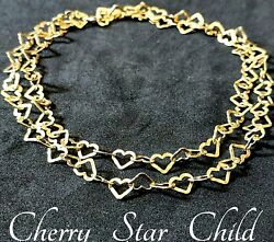 Solid Sterling 925 Silver Gold Wash Chain Necklace Interlocked Heart Links Italy