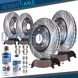 1999 2000 Bmw 323i E46 Front And Rear Drilled Slotted Brake Rotors + Ceramic Pads