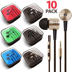 10x 3.5mm Earbuds Earphones Headphones Headsets For Iphone Samsung Remote And Mic