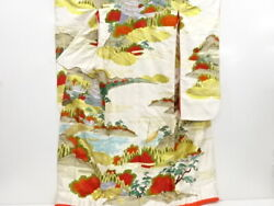 4014293 Japanese Kimono / Vintage Uchikake For Bride / Embroidery / Forest And Br