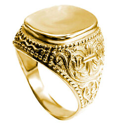 Men's 14k Solid Yellow Gold Signet Engravable Ring 6 To 14 R1978