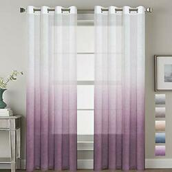 H.VERSAILTEX Ombre Linen Sheer Curtains Light Filtering Privacy Protecting Soft