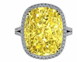925 Sterling Silver Cocktail Party Ring Beautiful Yellow Cushion Round Halo Gift