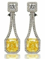 9ct Long Dangle Earring Solid 925 Sterling Silver Yellow Cushion Party Jewelry