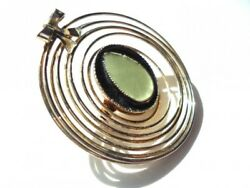 Fine Fashion  Women Jewelry Brooch Accessory Circle Motif Green Gold Plate Pin