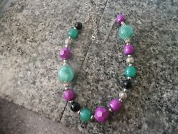 GREEN AND BLACK AND PURPLE BEAD NECKLACE WITH SILVERED SPACERS
