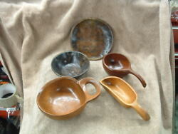 5 Unique Island Hand Carved Wooden Nut Or Candy Bowls And Hors D'oeuvres Plate