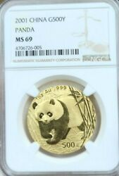 2001 China Gold 500 Yuan Panda Ngc Ms 69 High Grade Beautiful Surfaces