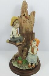 Large A. Belcari Capodimonte Signed Made In Italy - Young Boy Girl On Tree Stump