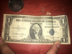1935 1 Dollar Bill Silver Certificate Blue Seal Note Used