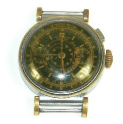 Vintage Ghitor Monopusher Chronograph Watch Unusual Black Military Sector Dial