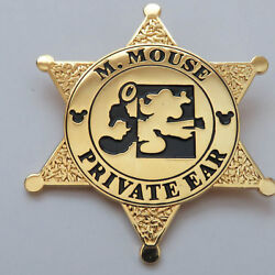 Disney Mickey Private Ear Sheriif Badge Rare Pin