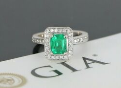7500 18k White Gold Gia Green Step Cut Emerald Diamond Cocktail Engagement Ring