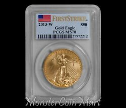 2013-w 50 Burnished Gold Eagle Pcgs Ms70 First Strike