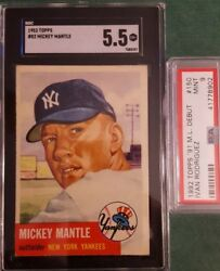 1953 TOPPS Mickey Mantle SP Short Print #82 SGC GRADED 5.5 Bonus PSA CARD!