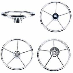 Boat 5 Spoke 13-1/2 Inch Destroyer Style Stainless Steel Steering Wheel With Cap