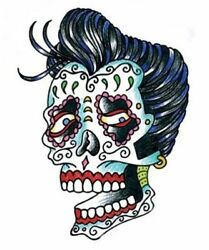 Lady Skull Sticker Day Of The Dead Car Window Hotrod Ratrod Clear Backing Decal