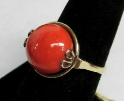 Wonderful Victorian Era Gold And Cabochon Red Coral Ring Size 7 1/2