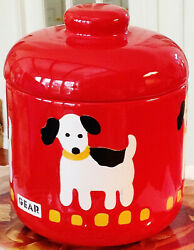 Waechtersbach Germany Animal House Red Gear Dog Treat Cookie Jar Canister W/lid