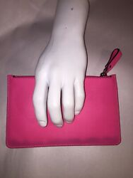 Nwot Auth Valentino Small Bubble Gum Pink Leather Zip To Pouch Clutch 529