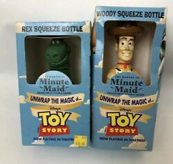 Hasbro Minute Maid Toy Story Woody And Rex Drink Bottles Original Boxes 1995 C1