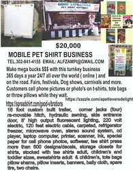 Mobile Pet Shirt Boutique Business.retired40 years.On line 24-7 around the world
