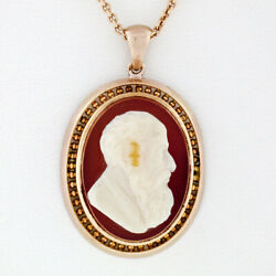 Rare Antique Victorian 14k Rose Gold Raised Carved Agate Cameo Open Work Pendant