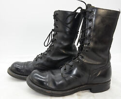 SPORTWELT Men's Black Military Army Leather Paratrooper Work Jump Boots Sz 8 R