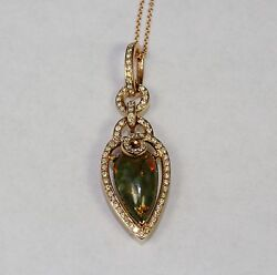 14k Rose Gold Pear Shaped Natural Untreated Opal And Diamond Pendant With Chain