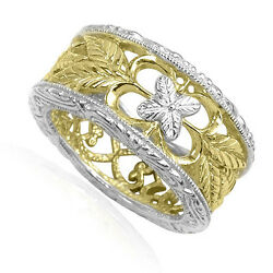14k Two-tone Gold Filigree Ring - Sizes 4 To 9.5 R1745