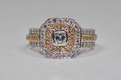 14k White Gold And Rose Gold Asscher Cut Diamond And Round Diamond Ring Size 6