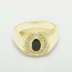 14k Yellow Gold Natural Bloodstone And Cz Mens Signet Ring - Sizes 6 To 12