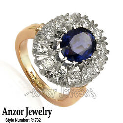 18k Rose And White Gold 2.50 Cwt Ceylon Sapphire 1.32 Cwt Diamond Russian Ring
