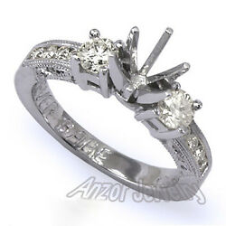 Platinum 950 Channel And Prong Diamond Engagement Ring Setting Sizes 4 To 9.5