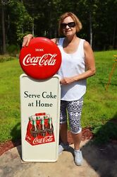 Vintage 40's Coca Cola Old Wooden 6 Pack Drink Pilaster W/ Button Sign Minty