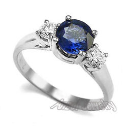 14k White Gold Sapphire And Diamond Three Stone Ring Size 4 To 9.5 R965