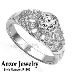 14k Solid White Gold Genuine Diamond Anniversary Russian Style Ring R1905