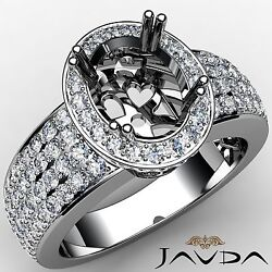 4 Row Pave Oval Semi Mount 14k White Gold 1.45ct Diamond Engagement Halo Ring