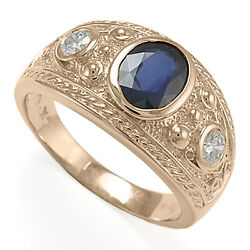 Menand039s 14k Solid Rose Gold Three-stones Genuine Sapphire And Diamonds Ring