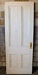 Antique Italianate 7and039 Tall Four Panel Door - C. 1860 Fir Architectural Salvage