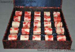 16old Chinese Chicken Blood Stone Master Hand Carved Seal Stamp Signet Set