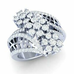 2ct Round Real Diamond 14k Gold Engagement Ring For Women Flower Cluster