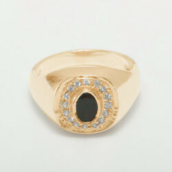 14k Rose Gold Natural Bloodstone And Cz Mens Signet Ring - Sizes 6 To 12