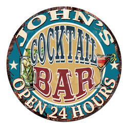 Cpco-0002 John's Cocktail Bar Tin Sign Father's Day Gift Decor Ideas For Man