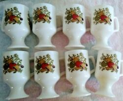 8 Vintage Spice Of Life Milk Glass Footed Pedestal Mugs Coffee Cups Vegetables
