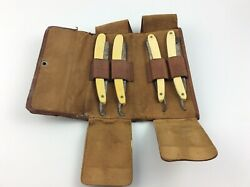 4 Antique Straight Razors In Leather Case S. Hudes And R. Schlag Extra Fine