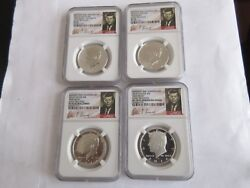 2014 John F. Kennedy 4 Coin Silver Set 50th Anniversary Ngc High Relief