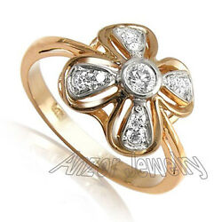 Russian Style Solid Rose & White Sterling Silver Ring with Cubic Zirconia #R1647