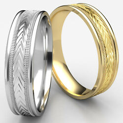 6mm Harvest Of Love Milgrain Edge Man Menand039s Womenand039s Gold Wedding Band Ring